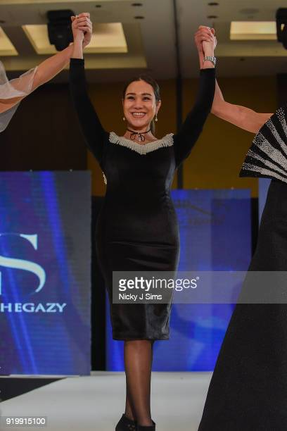 Shahenda Hegazy at the House of iKons show during London Fashion Week February 2018 at Millenium Gloucester London Hotel on February 17 2018 in...