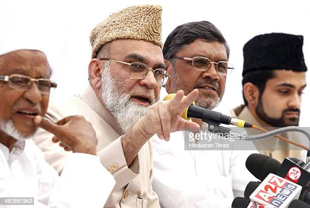 Shahi Imam of Delhi Jama Masjid Syed Ahmed Bukhari announces his support for Congress in the coming Lok Sabha elections during a press conference on...