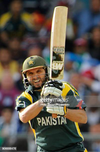 Shahid Afridi batting for Pakistan during his innings of 51 runs in the ICC World Twenty20 Semi Final between Pakistan and South Africa at Trent...
