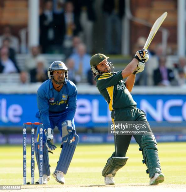 Shahid Afridi batting for Pakistan during his innings of 54 not out in the ICC World Twenty20 Final between Pakistan and Sri Lanka at Lord's Cricket...