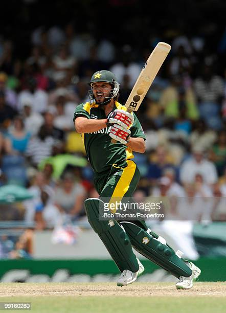 Shahid Afridi batting for Pakistan during the ICC World Twenty20 Super Eight match between New Zealand and Pakistan at the Kensington Oval on May 8...