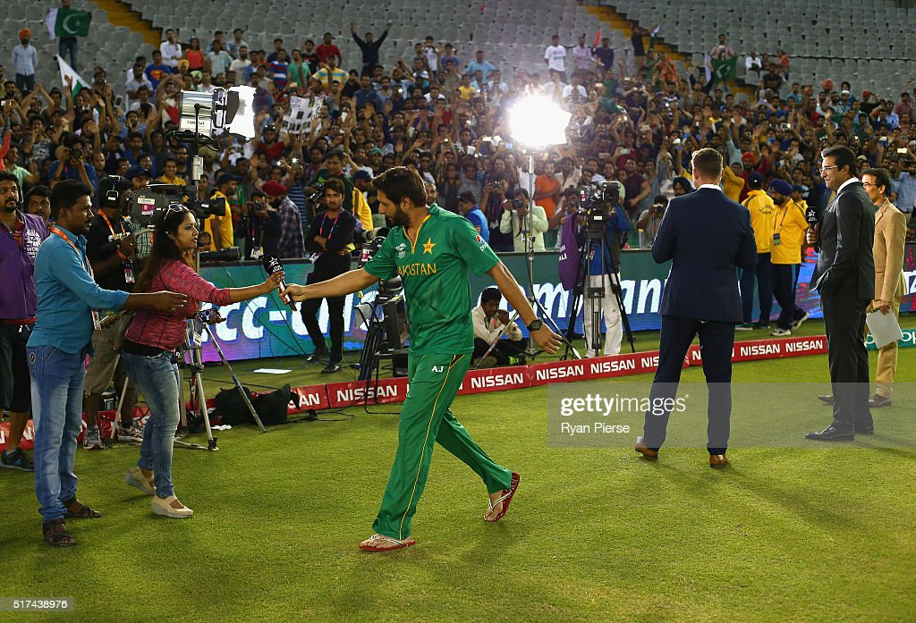 Shahid Afridi Captain of Pakistan is interviewed after the ICC WT20 India Group 2 match between Pakistan and Australia at IS Bindra Stadium on March..