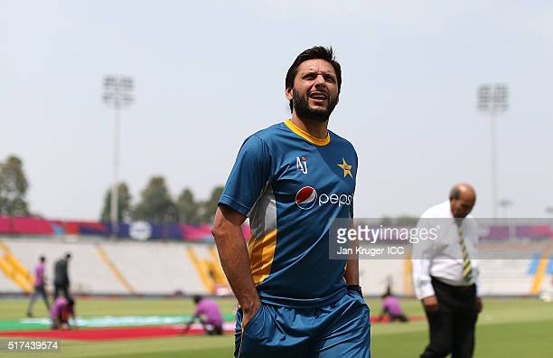 Shahid Afridi Captain of Pakistan looks on ahead of the ICC World Twenty20 India 2016 Super 10s Group 2 match between Pakistan and Australia at the...