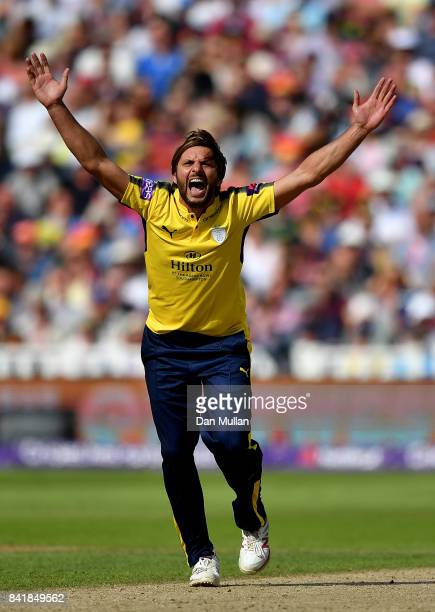 Shahid Afridi of Hampshire appeals successfully for the wicket of Brendan Taylor of Notts Outlaws during the NatWest T20 Blast SemiFinal match...