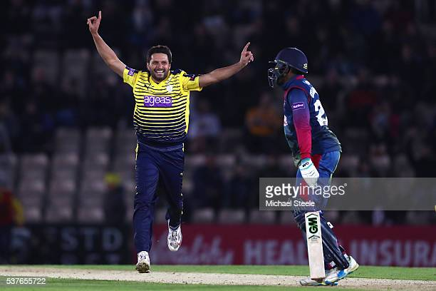 Shahid Afridi of Hampshire celebrates capturing the wicket of Daniel BellDrummond of Kent stumped by wicketkeeper Adam Wheater during the NatWest T20...