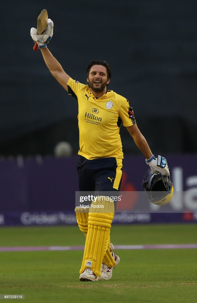 Shahid Afridi of Hampshire celebrates his century during the NatWest T20 Blast at The 3aaa County Ground on August 22, 2017 in Derby, England.