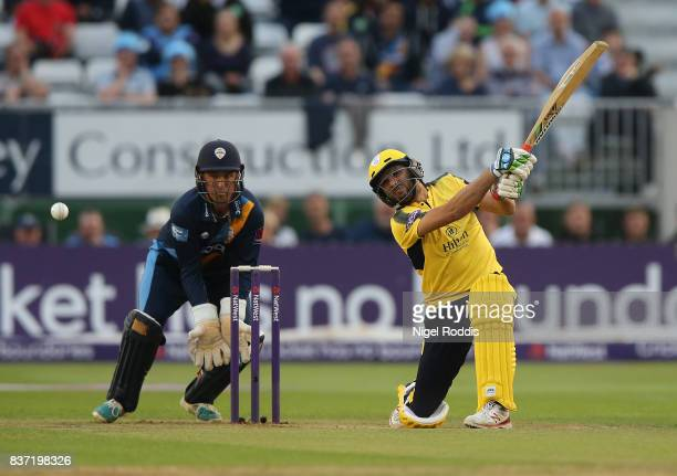 Shahid Afridi of Hampshire during the NatWest T20 Blast at The 3aaa County Ground on August 22 2017 in Derby England