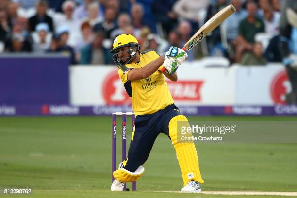 Shahid Afridi of Hampshire hits out during the NatWest T20 Blast match between Sussex Sharks and Hampshire at The 1st Central County Ground on July...