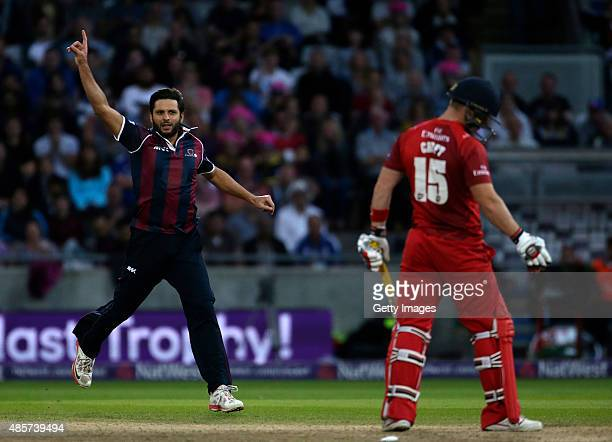 Shahid Afridi of Northamptonshire appeals for the wicket of Steven Croft of Lancashire during the NatWest T20 Blast Final between Lancashire...