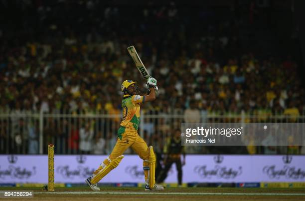 Shahid Afridi of Pakhtoons bats during the semi final T10 match between Pakhtoons and Punjabi Legends at Sharjah Cricket Stadium on December 17 2017...