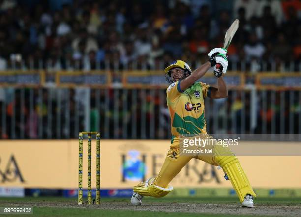 Shahid Afridi of Pakhtoons bats during the T10 League match between Maratha Arabians and Pakhtoons at Sharjah Cricket Stadium on December 14 2017 in...