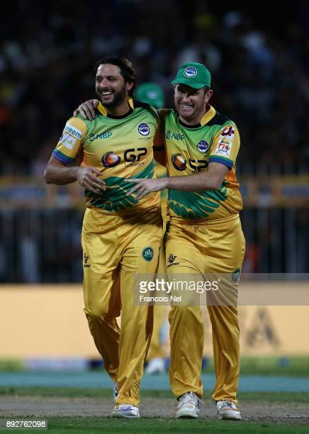 Shahid Afridi of Pakhtoons celebrates after dismissing Rilee Rossouw of Maratha Arabians during the T10 League match between Maratha Arabians and...