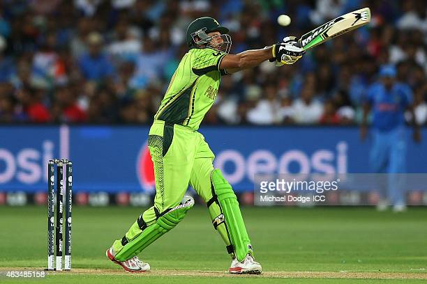 Shahid Afridi of Pakistan bats during the 2015 ICC Cricket World Cup match between India and Pakistan at Adelaide Oval on February 15 2015 in...