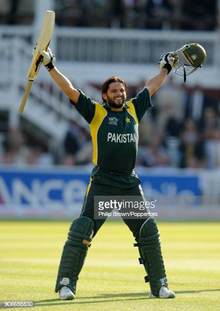 Shahid Afridi of Pakistan celebrates as the winning run is scored in the ICC World Twenty20 Final between Pakistan and Sri Lanka at Lord's Cricket...