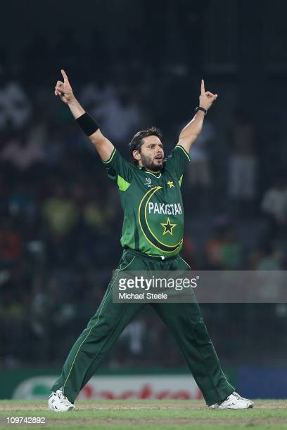 Shahid Afridi of Pakistan celebrates bowling immy Hansra during the Canada v Pakistan 2011 ICC World Cup Group A match at the R Premadasa Stadium on...
