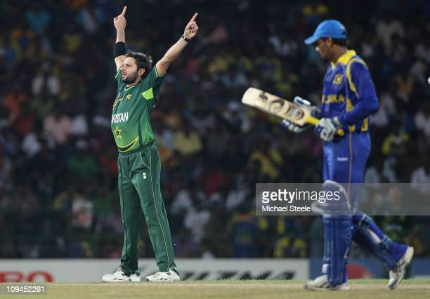 Shahid Afridi of Pakistan celebrates taking the wicket of Tillakaratne Dilshan during the Pakistan v Sri Lanka 2011 ICC World Cup Group A match at...