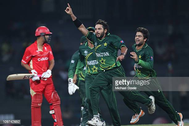 Shahid Afridi of Pakistan celebrates taking the wicket of Harvir Baidwan during the Canada v Pakistan 2011 ICC World Cup Group A match at the R...