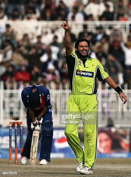 Shahid Afridi of Pakistan celebrates taking the wicket of Vikram Solanki of England for 49 runs during the fifth one day international match between...