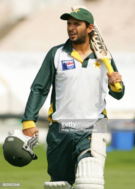 Shahid Afridi of Pakistan during a training session before the 2nd Test match between England and Pakistan at Old Trafford Manchester 26th July 2006