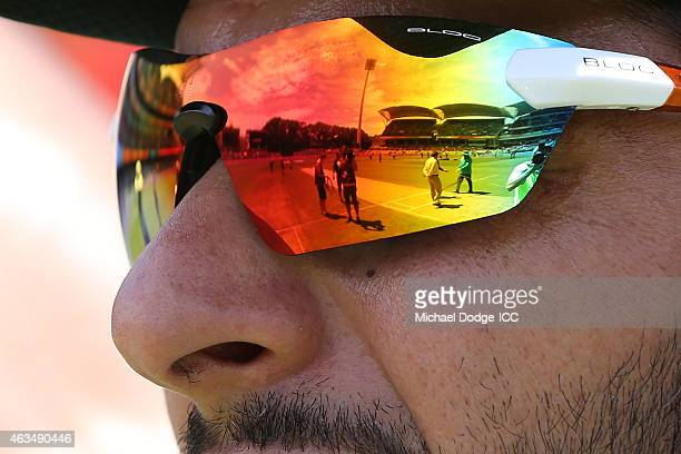 Shahid Afridi of Pakistan looks ahead up the pitch during the 2015 ICC Cricket World Cup match between India and Pakistan at Adelaide Oval on...