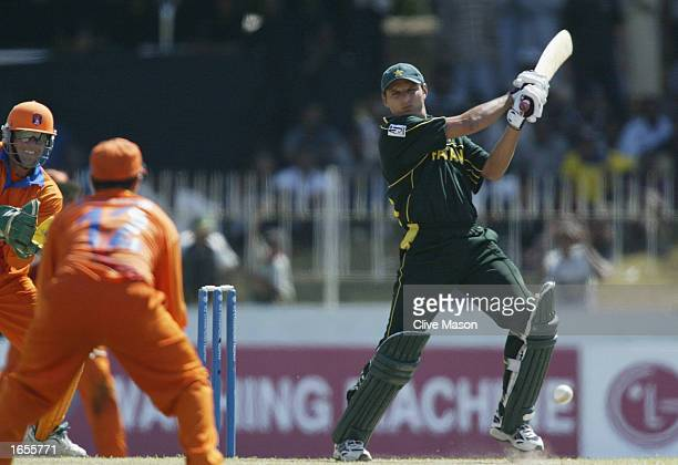 Shahid Afridi of Pakistan on his way to a half century during the ICC Champions Trophy match between Pakistan and Holland held on September 21, 2002...
