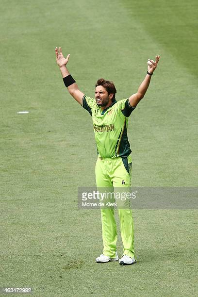 Shahid Afridi of Pakistan reacts during the 2015 ICC Cricket World Cup match between India and Pakistan at Adelaide Oval on February 15 2015 in...