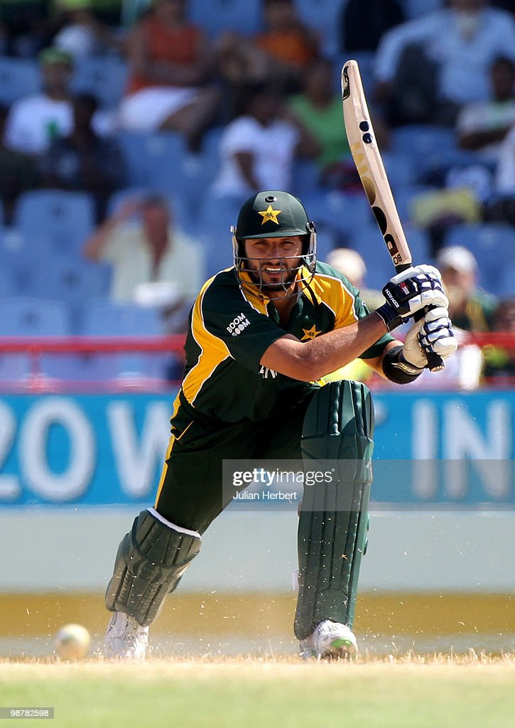 Shahid Afridi of Pakistan scores runs during The ICC World Twenty20 Group A match between Pakistan and Bangladesh played at The Beausejour Cricket Ground on May 1, 2010 in Gros Islet, Saint Lucia.