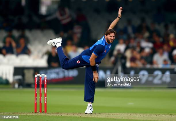 Shahid Afridi of the ICC World XI bowls during the T20 match between ICC World XI and West Indies at Lord's Cricket Ground on May 31 2018 in London...
