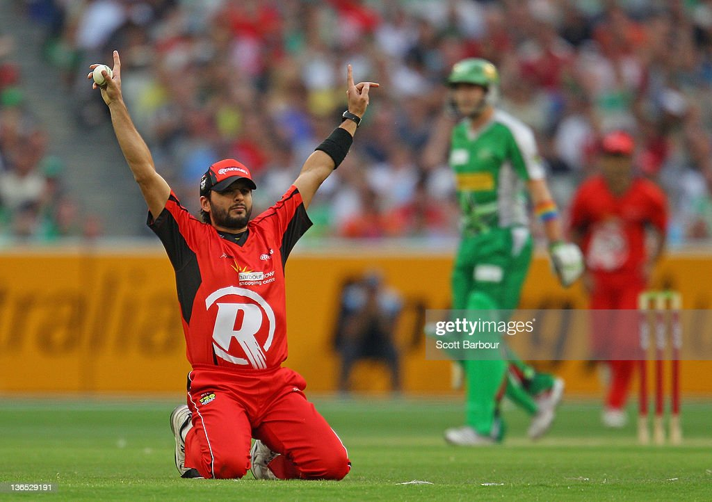 Shahid Afridi of the Renegades celebrates after taking a catch to dismiss Luke Wright of the Stars during the T20 Big Bash League match between the Melbourne Stars and the Melbourne Renegades at the Melbourne Cricket Ground on January 7, 2012 in Melbourne, Australia.