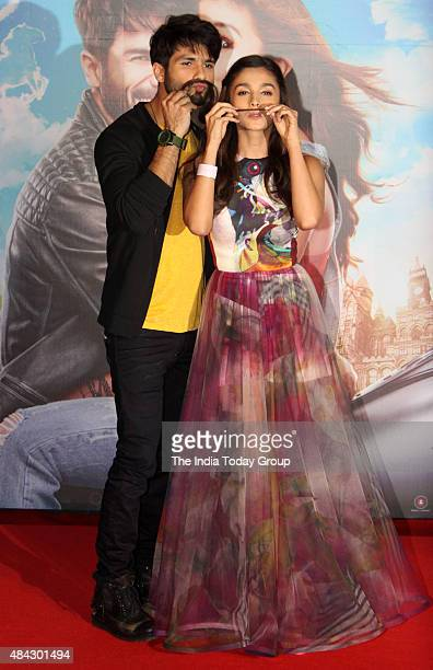 Shahid Kapoor and Alia Bhat at the trailer launch of their upcoming movie Shaandaar in Mumbai