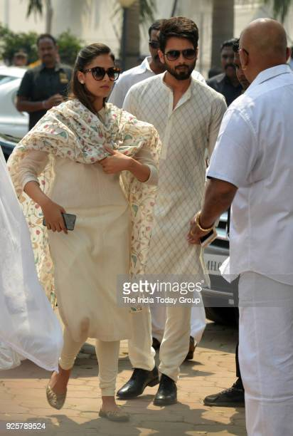 Shahid Kapoor and Mira Rajput arrives at Celebration Sports Club to pay last respects to Sridevi in Mumbai