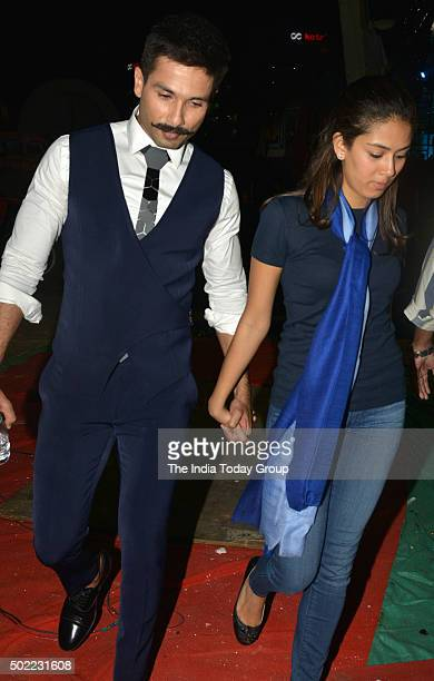 Shahid Kapoor and Mira Rajput at the Sansui Colors Stardust Awards 2015 in Mumbai