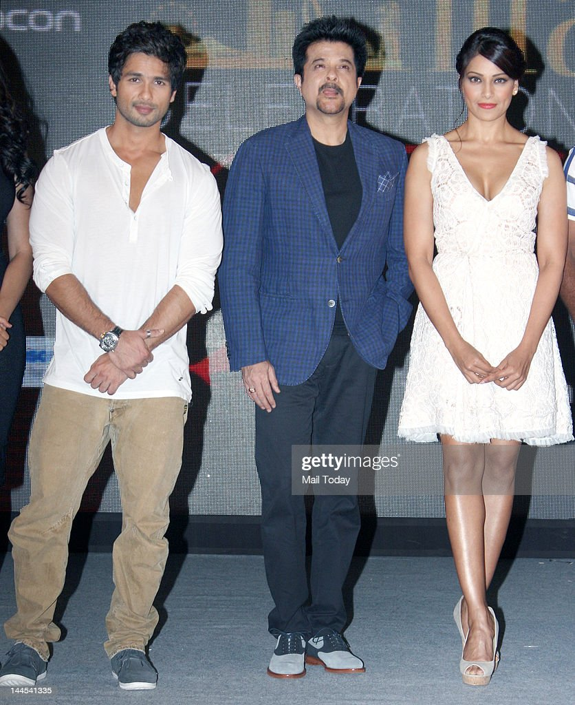 Shahid Kapoor Anil Kapoor and Bipasha Basu attend the press conference for the announcement of the IIFA Awards 2012 ceremony in Mumbai on May 14 2012