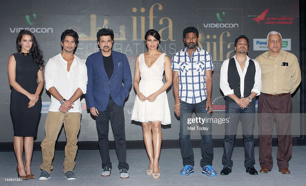 Shahid Kapoor Anil Kapoor Prabhu Deva Bipasha Basu Neha Dhupia and Sonakshi Sinha attend the press conference for the announcement of the IIFA Awards.