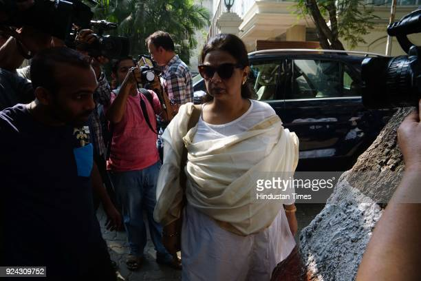 Shahid Kapoor's mother Neelima Azmi arrives at Anil Kapoor's residence in Mumbai after tragic news of Sridevi's demise on February 25 2018