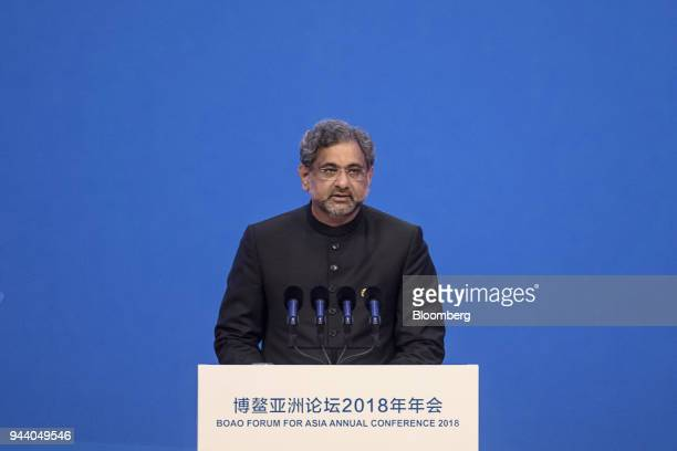 Shahid Khaqan Abbasi, Pakistan's prime minister, speaks at the Boao Forum for Asia Annual Conference in Boao, China, on Tuesday, April 10, 2018. With...
