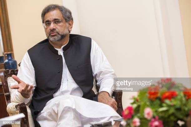 Shahid Khaqan Abbasi Pakistan's prime minister speaks during an interview in Karachi Pakistan on Saturday Aug 26 2017 US President Donald Trump's...