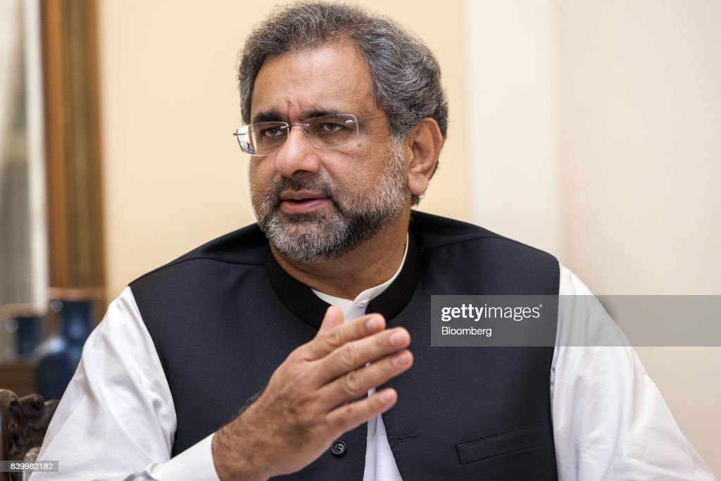 Shahid Khaqan Abbasi, Pakistan's prime minister, speaks during an interview in Karachi, Pakistan, on Saturday, Aug. 26, 2017. U.S. President Donald Trump's strategy for the nation's longest-running war in Afghanistan will meet the same fate as the plans of his predecessors, according to Abbasi. Photographer: Asim Hafeez/Bloomberg via Getty Images