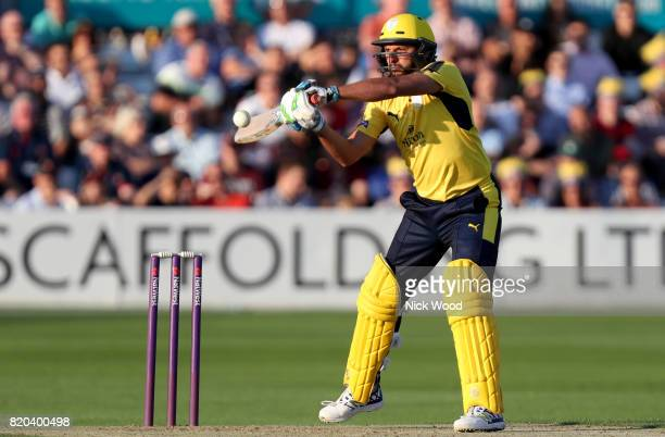 Shahid Shahid Afridi of Hampshire plays and misses during the Essex v Hampshire NatWest T20 Blast cricket match at the Cloudfm County Ground on July...