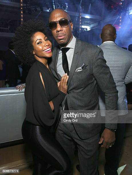 Shahidah Omar and actor/comedian J B Smoove attend Rolling Stone Live SF with Talent Resources on February 7 2016 in San Francisco California
