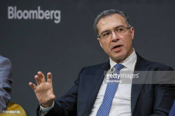 Shahmar Movsumov executive director of the Azeri oil wealth fund known as Sofaz gestures while speaking during the Emerging Frontier Forum 2019 at...