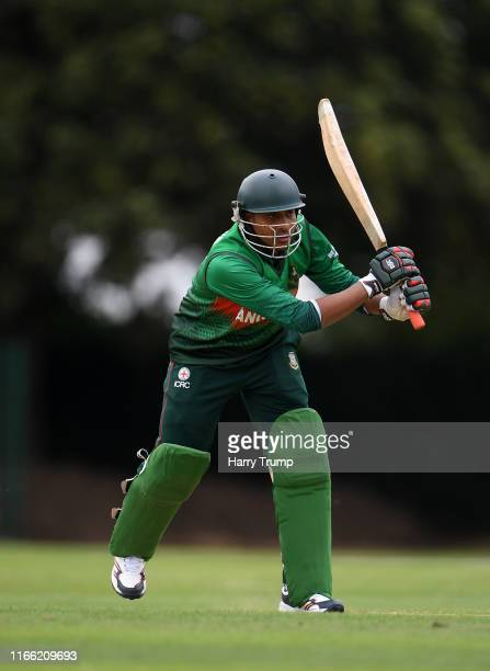 Shahria of Bangladesh plays a shot during the Physical Disability World Series match between Afghanistan and Bangladesh at Kidderminster Cricket Club...