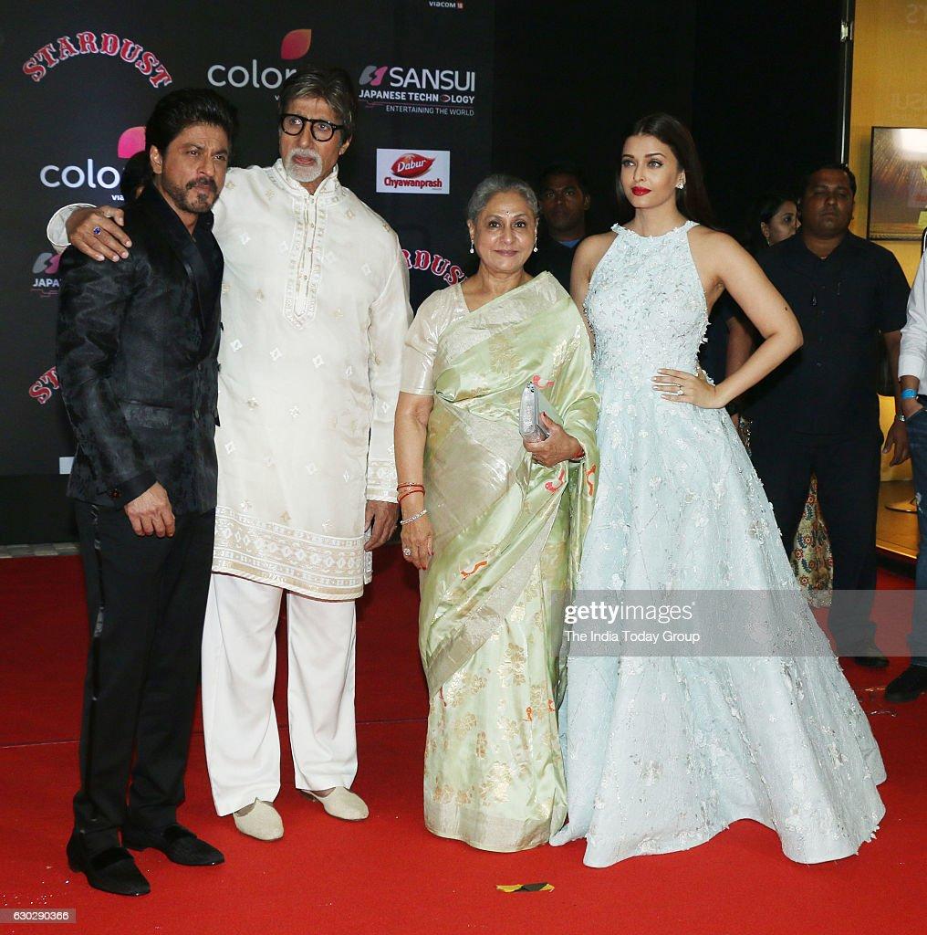 Shahrukh Khan Amitabh Bachchan Jaya Bachchan and Aishwarya Rai Bachchan during Sansui Colors Stardust Awards 2016 in Mumbai