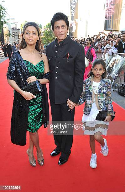 """Shahrukh Khan arrives at the London premiere of """"Raavan"""" at BFI Southbank on June 16, 2010 in London, England."""