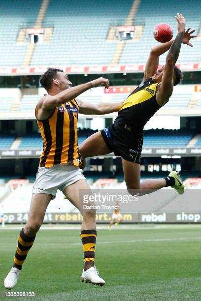 Shai Bolton of the Tigers attempts to mark the ball over Jonathon Ceglar of the Hawks during the round 23 AFL match between Richmond Tigers and...