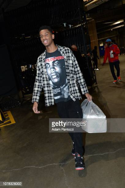 Shai GilgeousAlexander of the LA Clippers arrives prior to a game against the Orlando Magic on January 6 2019 at STAPLES Center in Los Angeles...