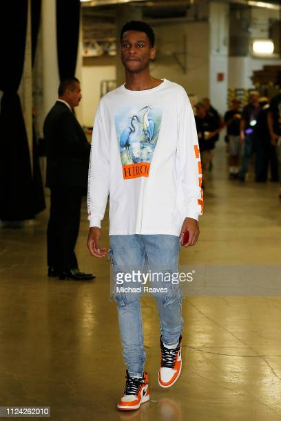 Shai GilgeousAlexander of the LA Clippers arrives prior to the game between the Miami Heat and the LA Clippers at American Airlines Arena on January...