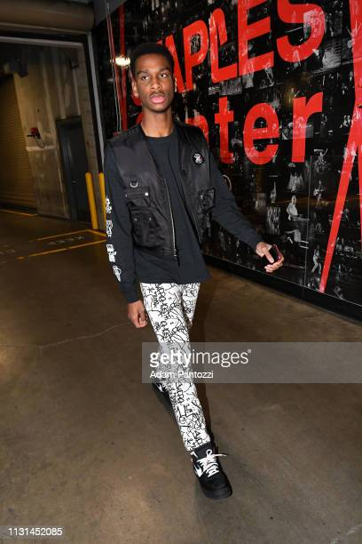 Shai GilgeousAlexander of the LA Clippers arrives to the game against the Chicago Bulls on March 15 2019 at STAPLES Center in Los Angeles California...