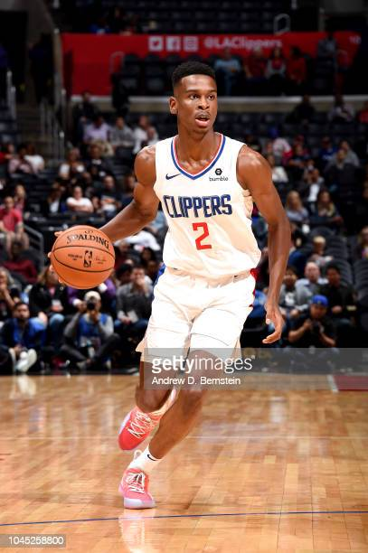 Shai GilgeousAlexander of the LA Clippers handles the ball against the Minnesota Timberwolves during a preseason game on October 3 2018 at Staples...