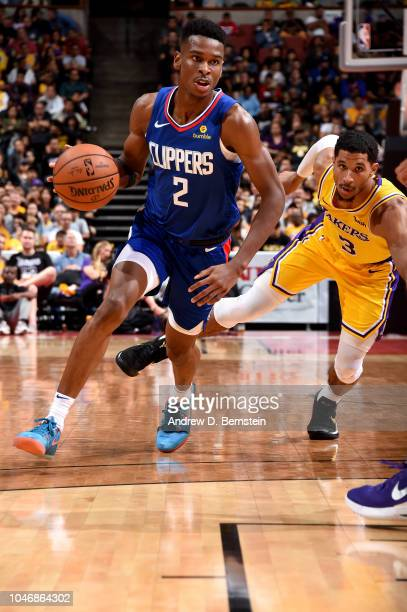 Shai GilgeousAlexander of the LA Clippers handles the ball against the Los Angeles Lakers during a preseason game on October 6 2018 at Honda Center...